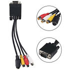 VGA SVGA to S-Video 3 RCA AV TV Out Cable Adapters Converter PC Computer Laptops