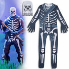 Fortnite Skull Trooper Karneval Halloween Kostüm Kinder Herren Overall Jumpsuit