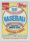 1981 Topps Coca-Cola Sets #HEAD Chicago White Sox Team Baseball Card $1.0  on eBay