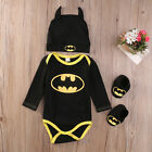 FixedPricenewborn toddler baby boy batman romper shoes hat 3pcs clothes outfit costume usa