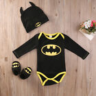 Kyпить Newborn Toddler Baby Boy Batman Romper Shoes Hat 3Pcs Clothes Outfit Costume USA на еВаy.соm