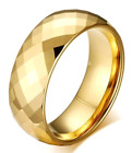 Gold Plated Tungsten Carbide Faceted RING BAND, sizes - 7, 8, 9, 10, 11, 12, 13 image