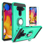 For LG V40 ThinQ Armor Case With Ring Holder Stand Cover+Glass Screen Protector