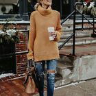Women High Collar Sweater Autumn Long sleeve Solid  Casual Loose Knitted Fashion