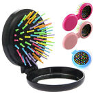 Portable Travel Folding Hair Brush With Mirror Compact Pocket Size Comb Gifts
