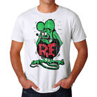 "Rat Fink Original Distressed Ed ""Big Daddy"" Men's White T-shirt NEW Sizes S-2XL image"