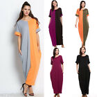 Maxi Dress Plus Size Women Solid Short Sleeve Oversize Baggy Long Sundress