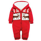 Baby Boys Girls Warm Xmas Elk Romper Knitted Jumpsuit Hooded Clothes Outfits