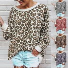 1x Sexy Womens Loose Leopard Round Neck Long Sleeve Blouse Tops T shirts