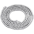 """Mens 1 Row Necklace Genuine Diamond Link Choker Chain 18"""" to 30"""" Sterling Silver"""