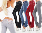 Damen Jeans Hose Bootcut Stretch Retro Vintage Flap Pocket dicke Nähte 36-44