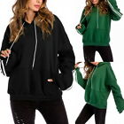 NEW Women Casual Solid Hooded Blouse Loose Striped Pocket Sweatshirt Blouse Tops