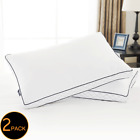 Feather & Down Blend Bed Pillows 100% Cotton Cover 2 Pack Queen King Standard image
