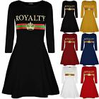 Womens Royalty Printed Jersey Flared Long Sleeve Party Ladies Skater Swing Dress