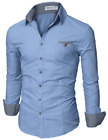 DOUBLJU MENS DRESS SHIRT WITH CONTRAST NECK BAND/LONG SLEEVE, BLUE