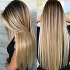 Synthetic Long Straight Hair Ombre Blonde Wig Heat Resistant Full Wigs For Women