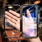 Metal Magnetic Shockproof Case For iPhone XS Max XR 8 7 Tempered Glass Cover