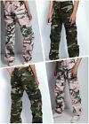 Womens Army Style Camo Cargo Pants Loose Fit Low Rise Comfort Paratrooper Pants