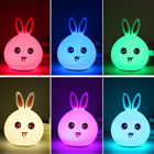 Cute Colorful Rabbit Bunny LED Night Light Lamp Silicone Touch Sensor Bed Light