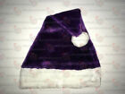 Purple Plush Santa Hat Ships from USA NOT FELT One or Lot