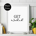 Get Naked noun definition wall Print wording Picture Quote bathroom  black white