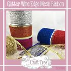 Colourful Glitter Wire Edged Web Mesh Ribbon 50mm Christmas Colours