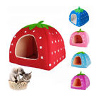 Soft Strawberry Pet Dog Cat Bed House Kennel Doggy Warm Cushion Basket S M L