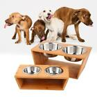 Pet Dog Cat Double Stainless Bowl Water Dish Food Feeder Raised Stand Holder Z4