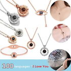 I Love You In 100 Languages Silver Rose Gold Pendant Necklace For Memory Of Love