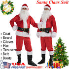 7Pcs Christmas Santa Claus Costume Fancy Dress Adult Suit Cosplay Party Outfit #