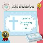 BOY CHRISTENING RECTANGLE EDIBLE CAKE TOPPER DECORATION PERSONALISED