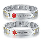 Silver Men Medical Alert Magnet Bracelet Therapy Chain Bangle Life Saving T1 T2