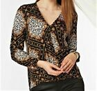 Womens Wallis Leopard Animal Print Black Wrap Drape Jersey Top Blouse Size 8-20