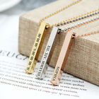 Personalised Vertical Bar Necklace Custom Engraved Bridesmaid Mothers Day Gift