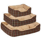 Me & My Pets Soft Fleece Tartan Check Dog/Puppy Bed Brown Washable Warm Cushion