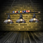 Black Metal Ball Design Pool Table Light Billiard Lamp with Amber Glass Shades $139.99 USD on eBay