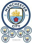 Manchester City Football Club Cake and Cupcake Toppers, Kids Birthdays,Edible
