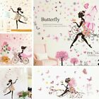 Flower Girl Wall Stickers Removable Nursery Vinyl Decals Diy Decor Wall Mural Uk