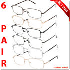 6 Pair Reading Glasses Men Women Unisex with Spring Hinge Metal Pack Readers New