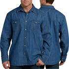 Dickies Shirt Mens Relaxed Fit Icon Long Sleeve Denim Western Work Shirt WL535