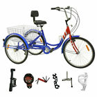 """7/1 Speed Adult 24"""" 3-Wheel Tricycle Trike Bicycle Bike Cruise With Basket USA"""