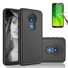 Shockproof Hybrid Hard Armor Case + Glass Screen Protector For Motorola Phone