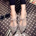 Womens Rhinestone Bow Knot Pointed Toe Flat Slip On Sandals Elastic Strap shoes