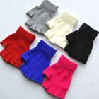 Solid Color Women Fingerless Warm Gloves Knitted Stretch Half Finger Stretchy QK