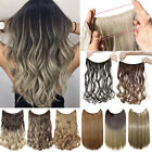 100 natural thick wire no clip in hair extensions halo hairpeices half head a3