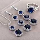 Women 925 Silver Oval Cut Sapphire Ring Necklace Set Wedding Jewelry Gift New