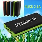 4USB Power Bank 100000mAh Portable External Battery Charger with LED for Phone
