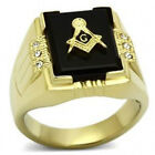 Stainless Steel Square Onyx Masonic Lodge Ring with 6 CZ Stone IP 14 kt. 316 L