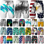 Mens Quickly Dry Summer Swim Trunks Surf 3D Funny Print Beachshorts Board Shorts