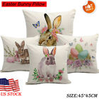 Easter bunny Cotton Linen Pillow Case Car Bed Cushion Square Cover Home Decor image